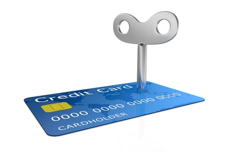 winder: one credit card with a wind-up key (3d render)