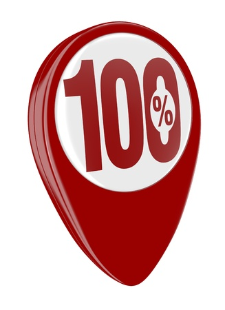one pin with the number one hundred and the percent symbol (3d render) Stock Photo - 17574486