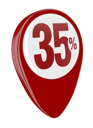 thirty five: un perno con il numero 35 e il simbolo di percentuale (rendering 3d)