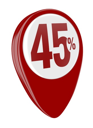 one pin with the number forty five and the percent symbol (3d render) Stock Photo - 17574442