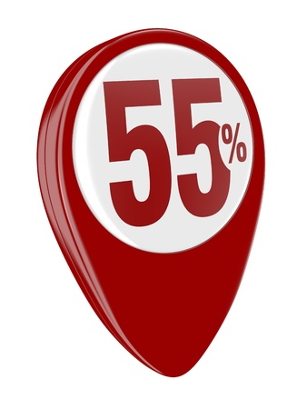 one pin with the number fifty five and the percent symbol (3d render) Stock Photo - 17574456