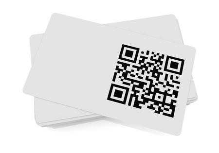 qr: business card with qr code (3d render)