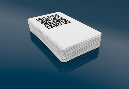 business card with qr code (3d render) photo