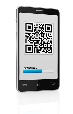 one cell phone with a qr code on display (3d render) Stock Photo - 17954097