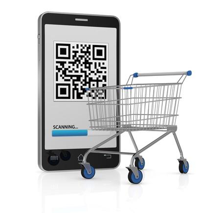 ein Handy mit einem QR-Code auf dem Display und einem Einkaufswagen (3d render)