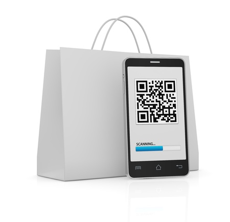 ein Handy mit einem QR-Code auf dem Display und einer Einkaufstasche (3d render)