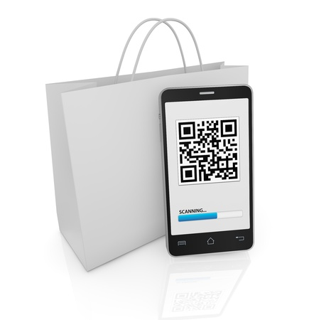mobile advertising: one cell phone with a qr code on display and a shopping bag (3d render)