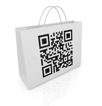 one shopping bag with a qr code printed on a side (3d render) photo