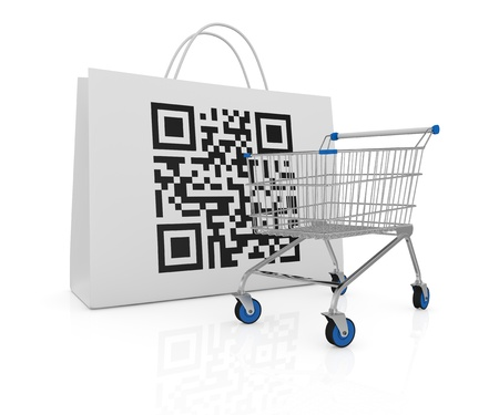 scanning: one shopping bag with a qr code printed on a side and a shopping cart (3d render)