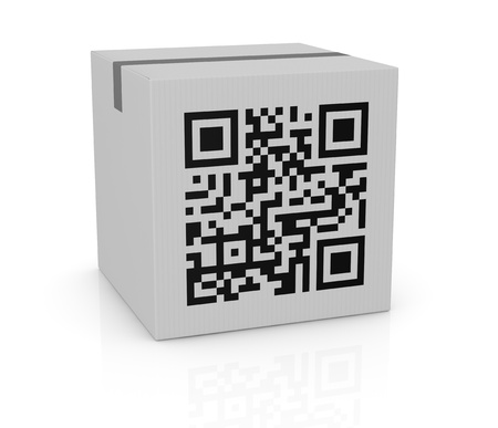 up code: one carton box with a qr code printed on a side (3d render) Stock Photo