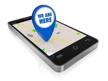 ein Smartphone mit einem GPS-Karte und einem Zeiger mit Text: Wir sind hier (3d render)
