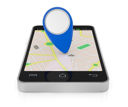 one smartphone with a gps map and a pointer with empty space for custom text or image (3d render) photo