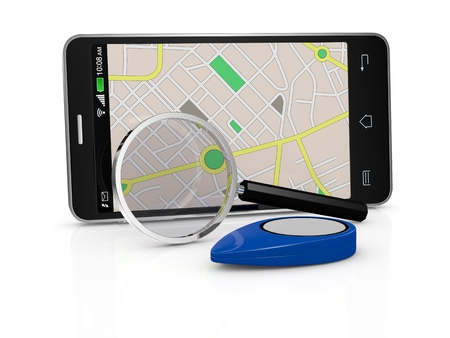 one smartphone with a gps map, a pointer and a  magnifying glass (3d render) photo