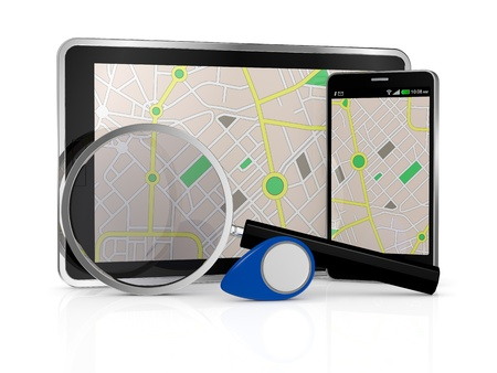 smartphone and tablet pc with a gps map, a pointer and a  magnifying glass (3d render) photo