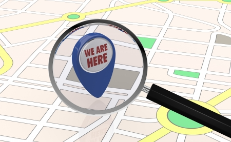 distance marker: street map with a pin pointer, text: we are here, and a  magnifying glass (3d render)