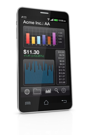 modern smartphone with stock market app (3d render) photo