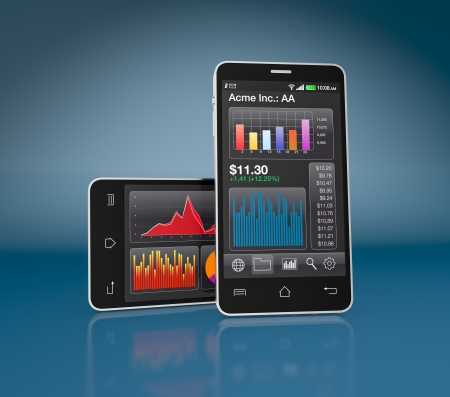 modern smartphone with stock market app (3d render) Stock Photo - 17954316