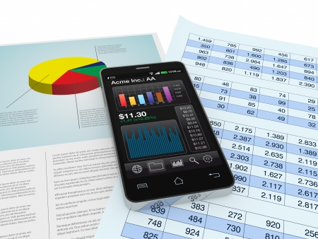 modern smartphone with stock market app, and financial paper documents (3d render) Stock Photo - 17954337