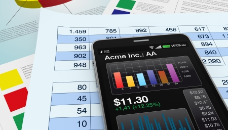 modern smartphone with stock market app, and financial paper documents (3d render) Stock Photo - 17954332