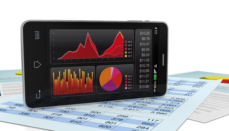 modern smartphone with stock market app, and financial paper documents (3d render) Stock Photo - 17954319