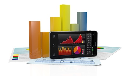 mobile marketing: modern smartphone with stock market app, financial paper documents and a bar chart (3d render) Stock Photo