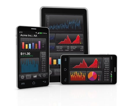 modern smartphone and tablet pc with stock market app (3d render)