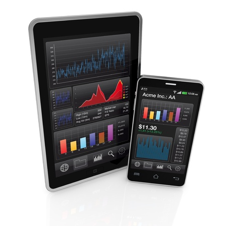 modern smartphone and tablet pc with stock market app (3d render) photo
