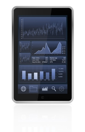 one tablet pc with stock market app (3d render) Stock Photo - 17954237