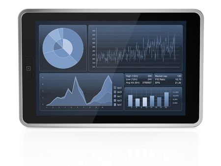one tablet pc with stock market app (3d render) photo