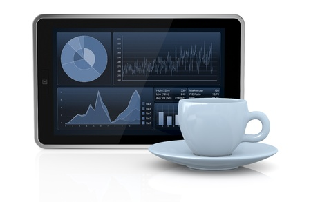 one tablet pc with stock market app and a coffee cup (3d render) Stock Photo - 17954179