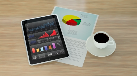 one tablet pc with stock market app, a coffee cup and a financial paper document(3d render) photo