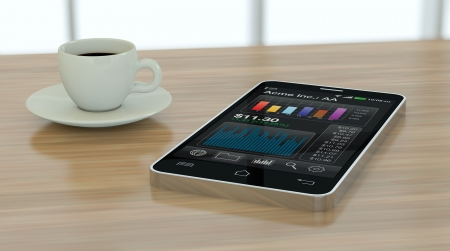 one modern smartphone with stock market app and a coffee cup (3d render) photo