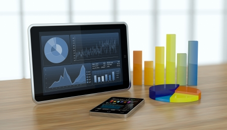 one tablet pc and a smartphone with stock market app and financial charts (3d render)