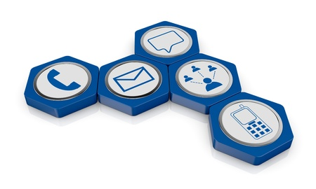 hexagon icons with communication symbols (3d render) Stock Photo - 17954103