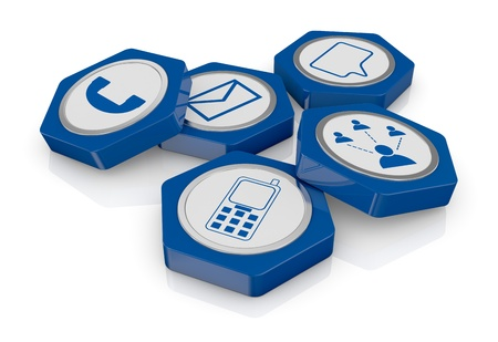 hexagon icons with communication symbols (3d render) Stock Photo - 17954152