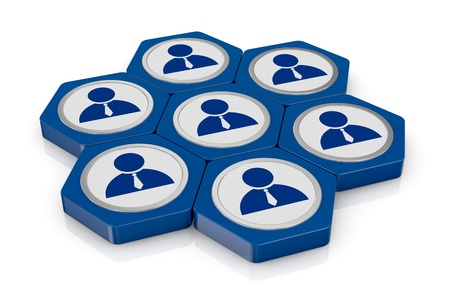 group of hexagon icons with a businessman symbol (3d render) photo
