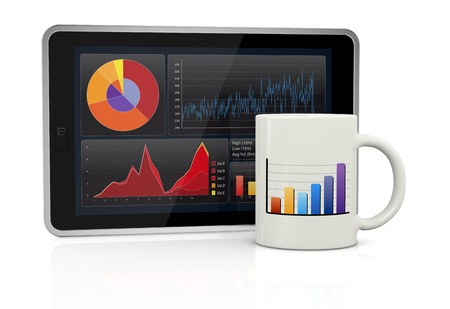 one tablet pc with stock market app and a coffee cup (3d render) photo