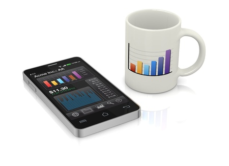 one modern smartphone with stock market app and a coffee cup (3d render) Stock Photo - 17954105