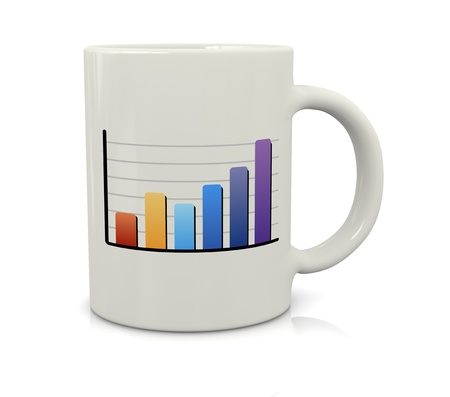 everyday jobs: one coffee cup with a financial bar chart (3d render)