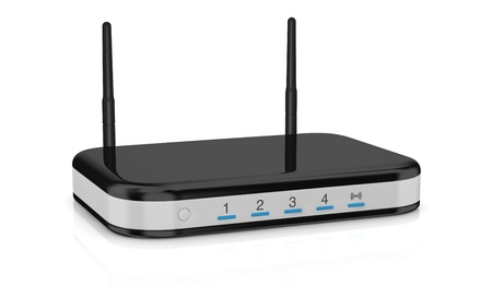 one modem router with two antennas for wireless network (3d render) Stock Photo