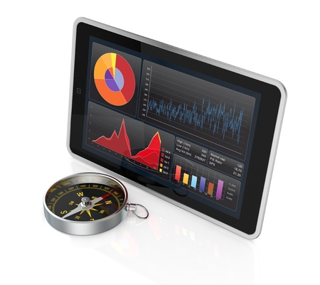 one tablet pc with stock market app and a compass (3d render) Stock Photo - 17954294
