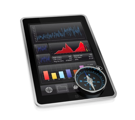 one tablet pc with stock market app and a compass (3d render) photo