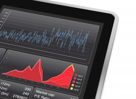 close up view of a tablet pc with a stock market app (3d render) photo