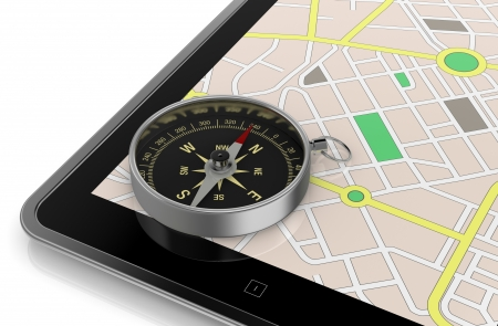 close up view of a tablet pc with gps map and a compass (3d render) photo