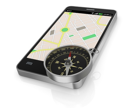 smartphone with gps map and a compass (3d render) photo