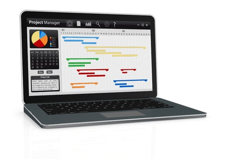 schedule reports: one computer notebook with project manager software and gantt chart (3d render)