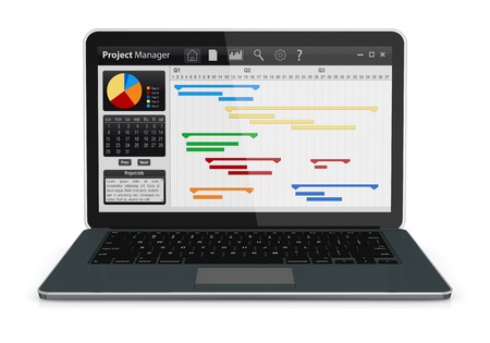 gestion documental: un ordenador port�til con software gerente del proyecto y diagrama de Gantt (3d render) Foto de archivo