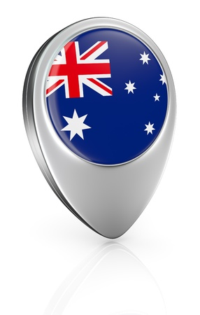 one pointer icon with the flag of Australia (3d render) photo