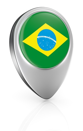 one pointer icon with the flag of Brazil (3d render) photo