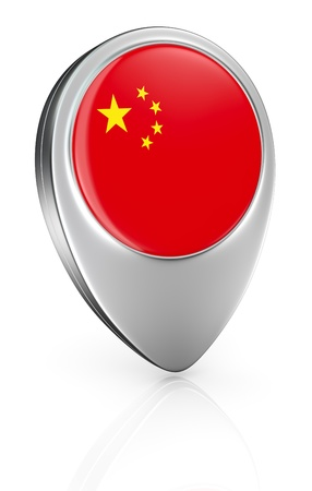 one pointer icon with the flag of China (3d render) photo